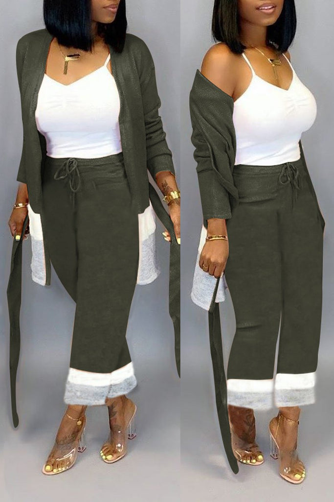 Drawstring Color Block Belted Top & Pants