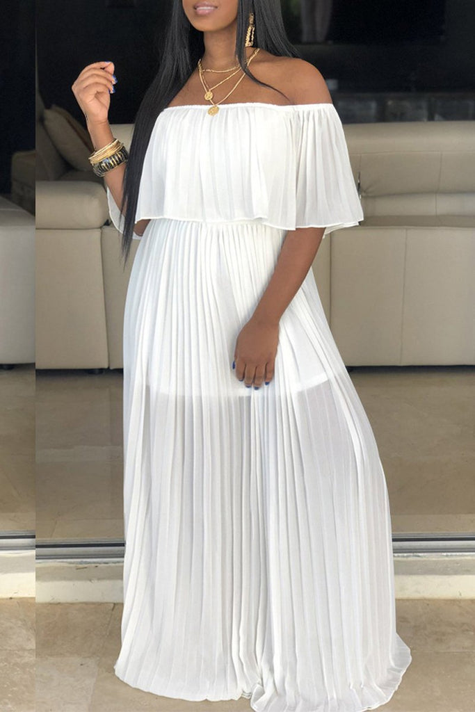 Solid Off The Shoulder Pleated Maxi Dress