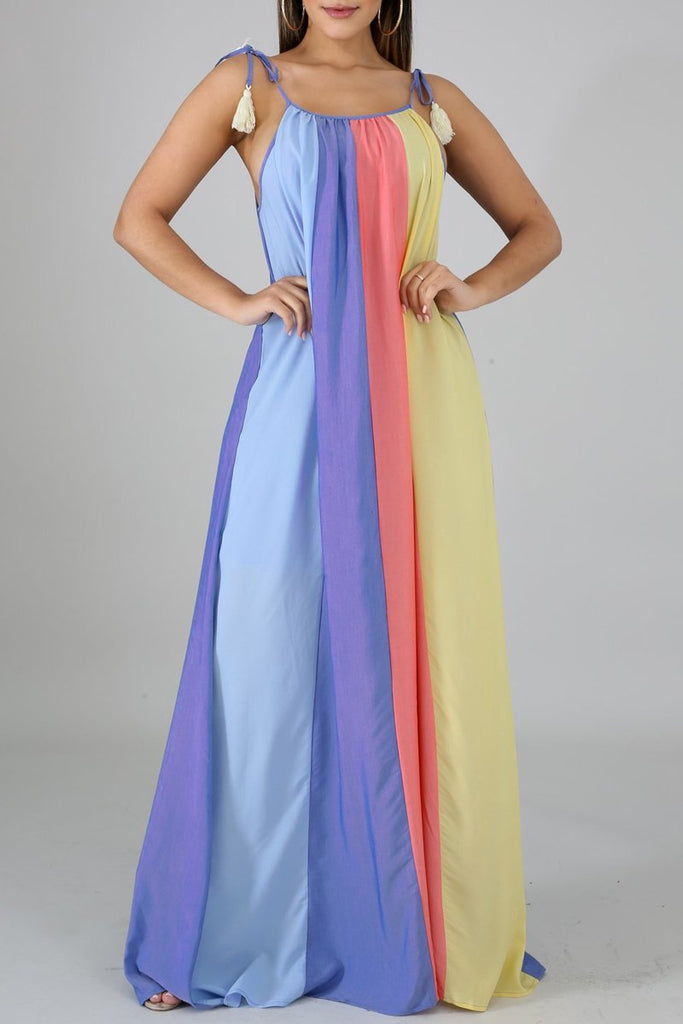 Color Block Spaghetti Straps Open Back Maxi Dress