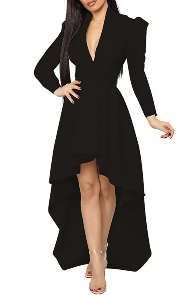 Plus Size Asymmetric Hem Deep V Neck Dress