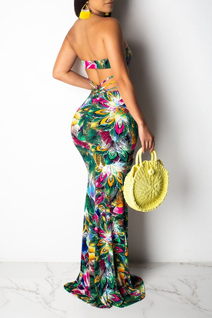 Floral Print Strapless Open Back Mermaid Dress