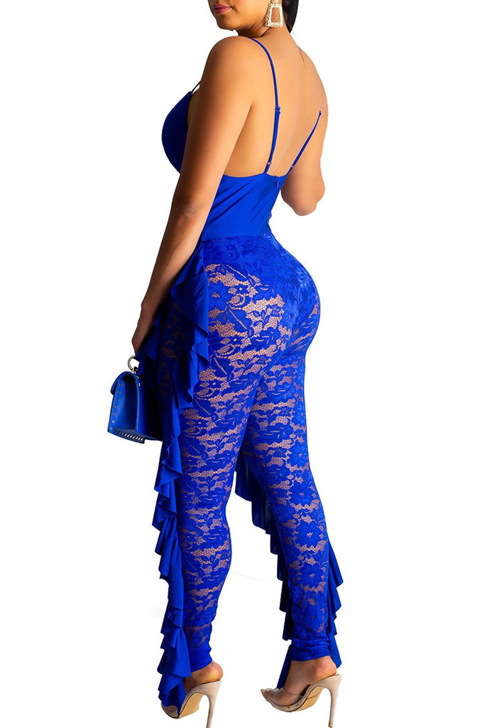See-through Ruffle V-neck Open Back Jumpsuit