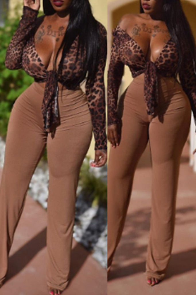 Leopard Print Knotted Top & Pants