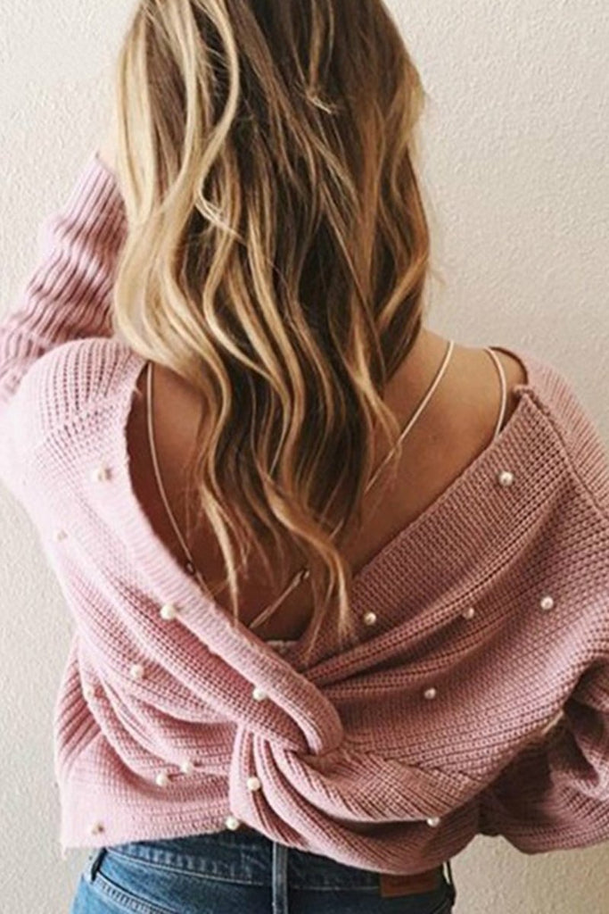 Pearl Decorated Knotted Open Back Sweater