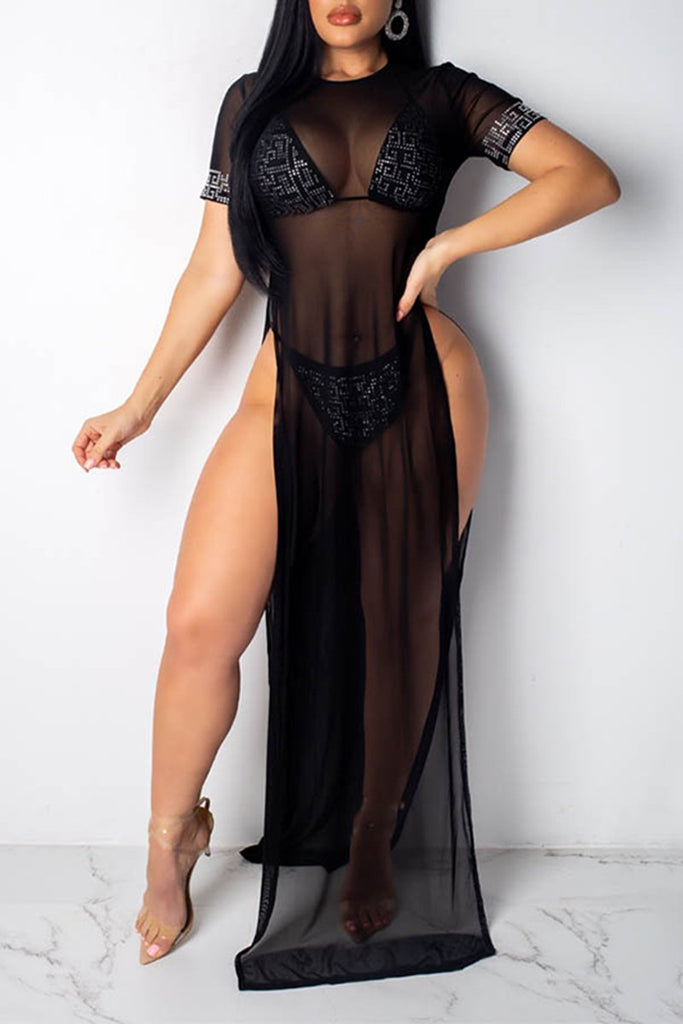 Rhinestone See-Through High Slit Swimwear