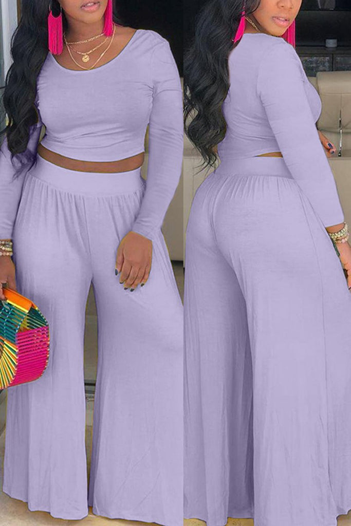 High Waist Solid Color Top & Wide Leg Pants