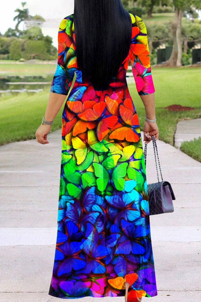 Butterfly Print V-neck Belted Maxi Dress