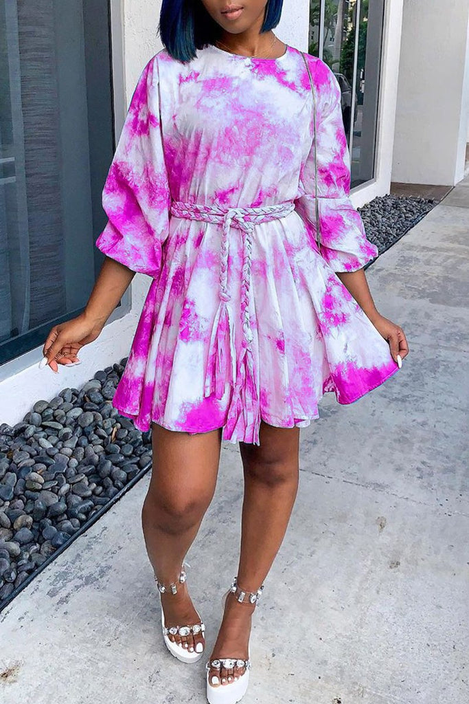 Tie Dye Ruffle Belted Mini Dress
