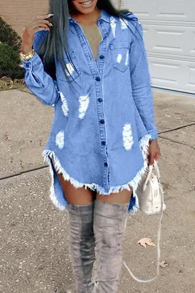 Denim Hole Fringed Pocket Irregular Hem Long Sleeve Dress - SISTALOOK