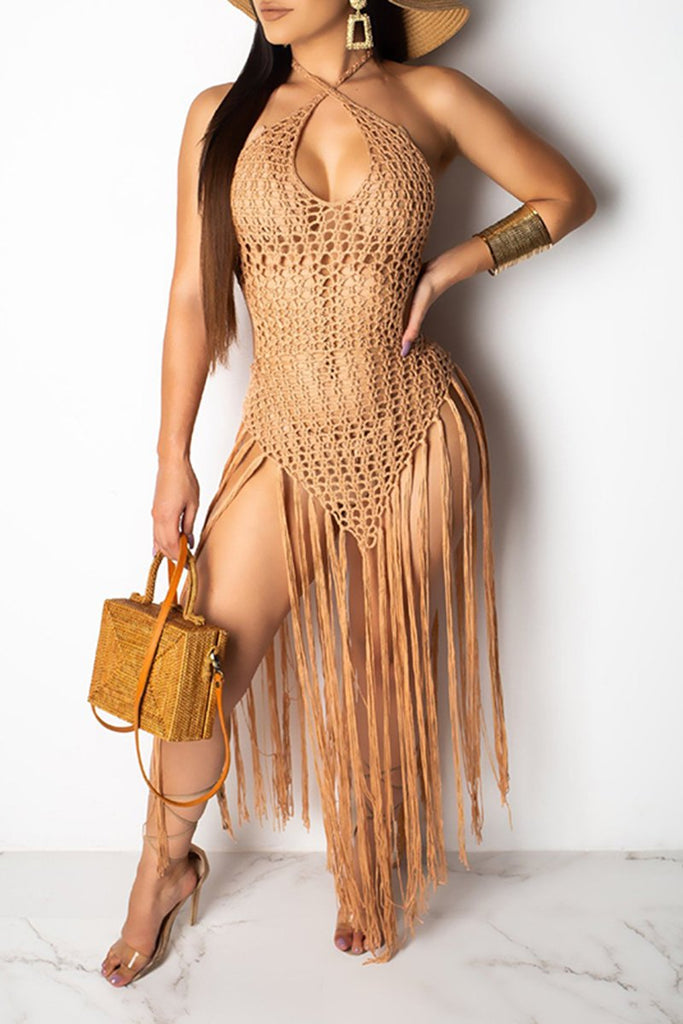 Fringed Knitted Criss Cross Casual Beach Dress
