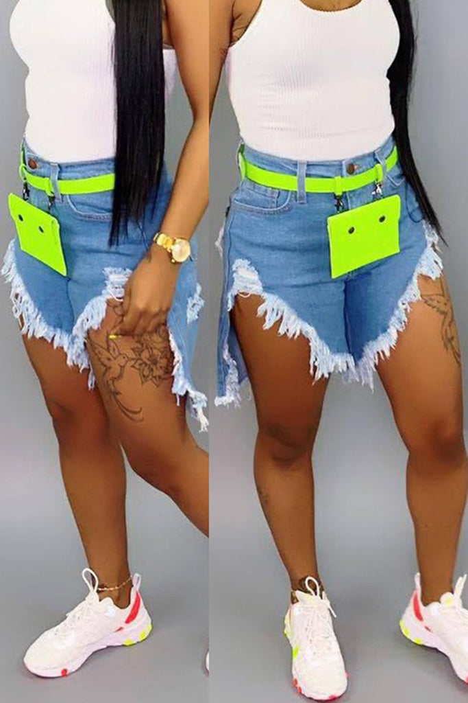 Denim High Low Hem Fringed Shorts