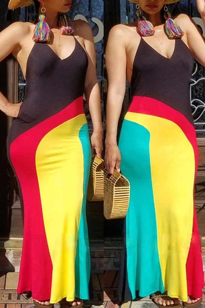 Color Block Pocket Rainbow Maxi Dress