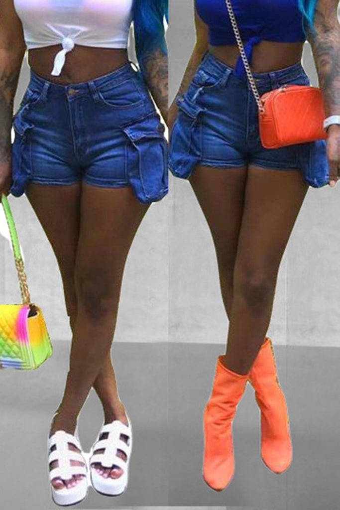 Pocket Denim Solid Color Shorts