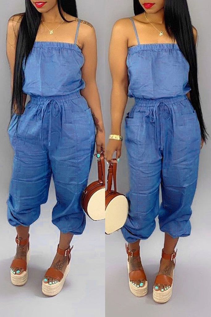 Pocket Solid Color Sleeveless Jumpsuit