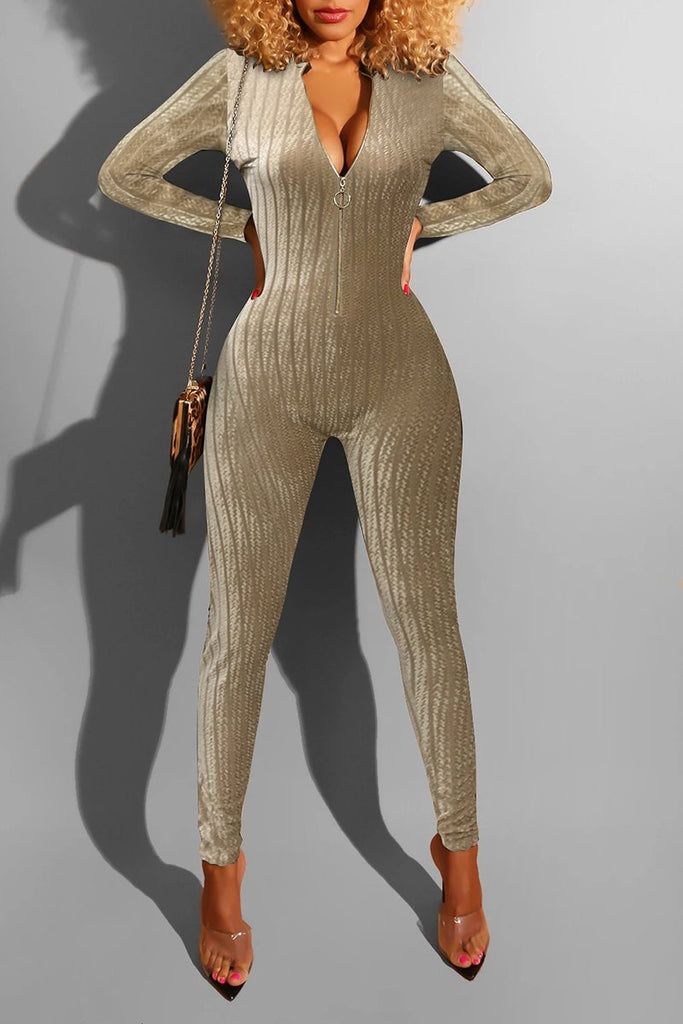 See-Through Zipper Up Bodycon Jumpsuit