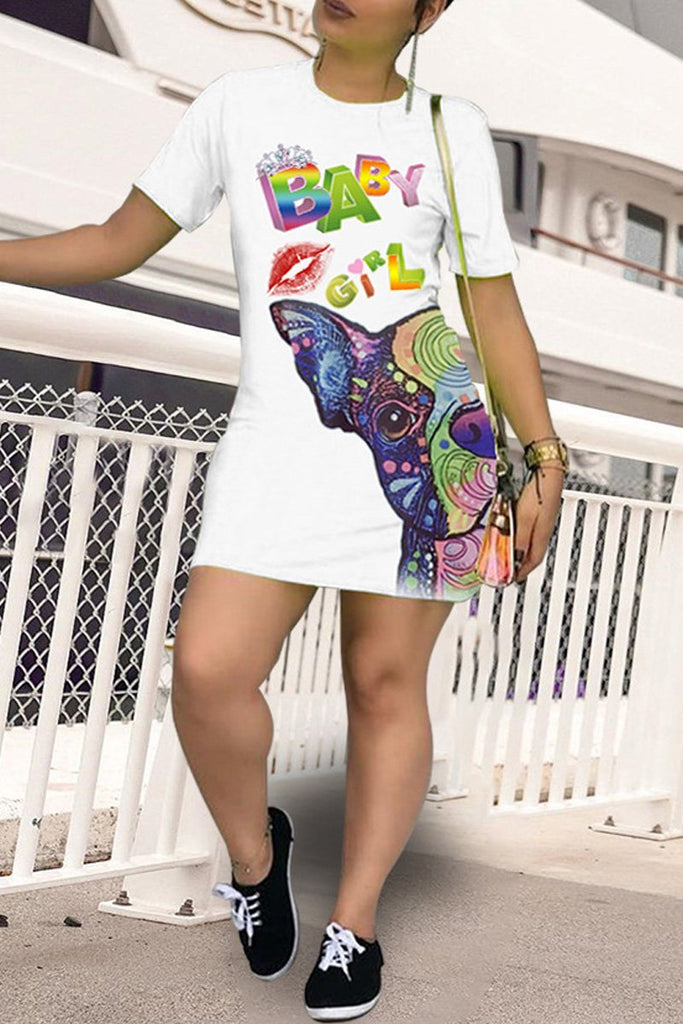Cartoon Print Hollow Out Mini Dress