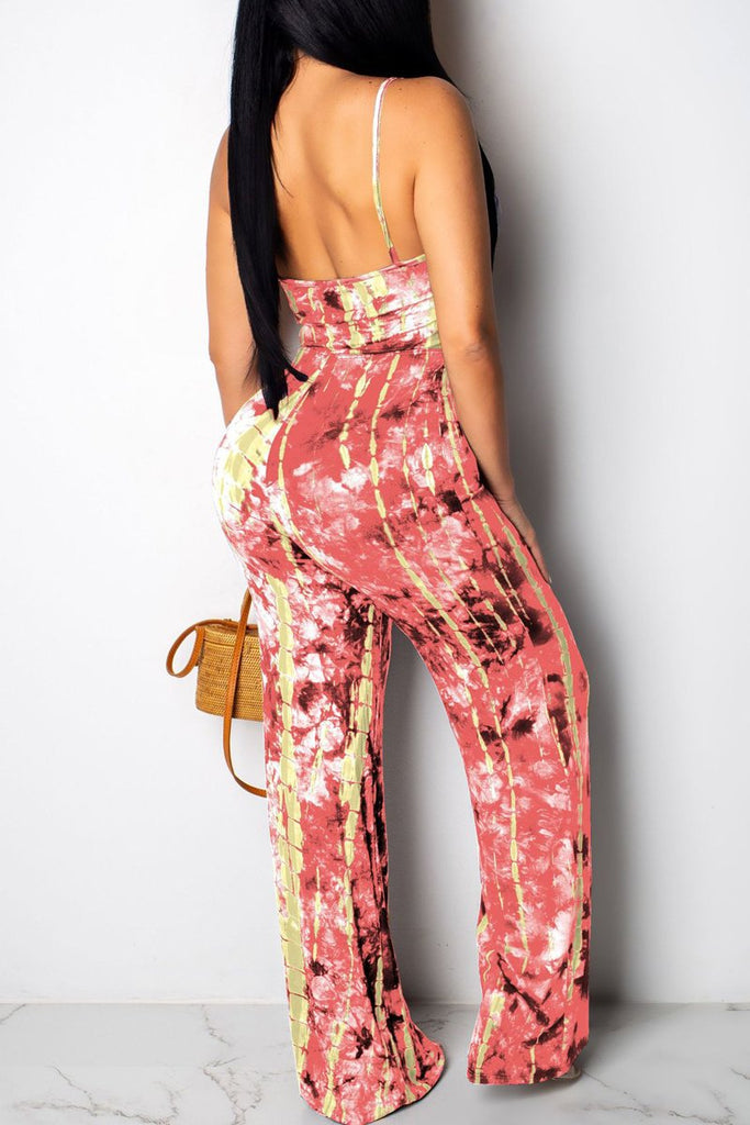 Spaghetti Straps Print V Neck Open Back Jumpsuit