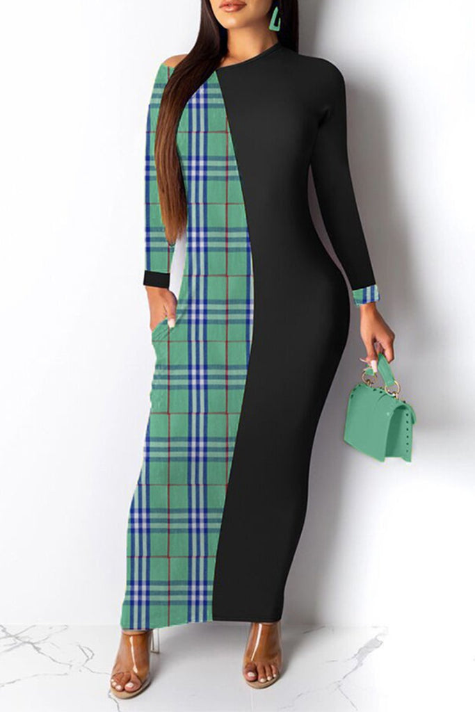 Pocket Lattice Splicing Long Sleeve Maxi Dress