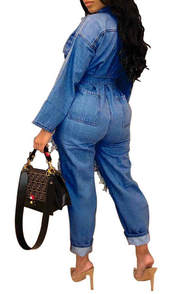 Denim Distressed Button Solid Color Jumpsuit