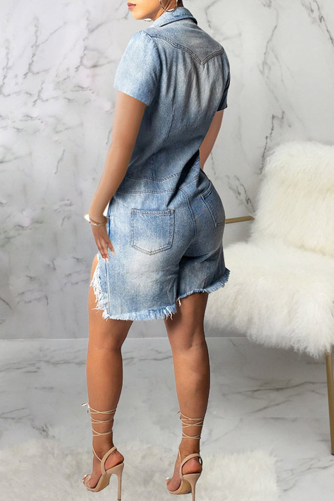 Asymmetric Denim Short Sleeve Romper