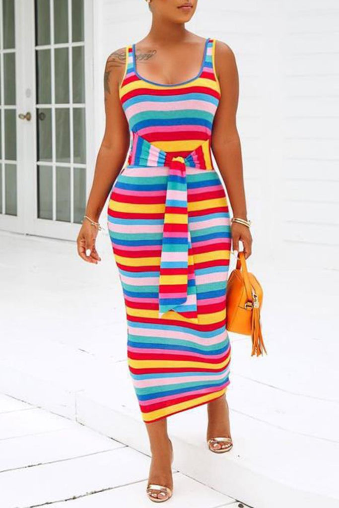 Rib Tie Up Rainbow Striped Sleeveless Dress