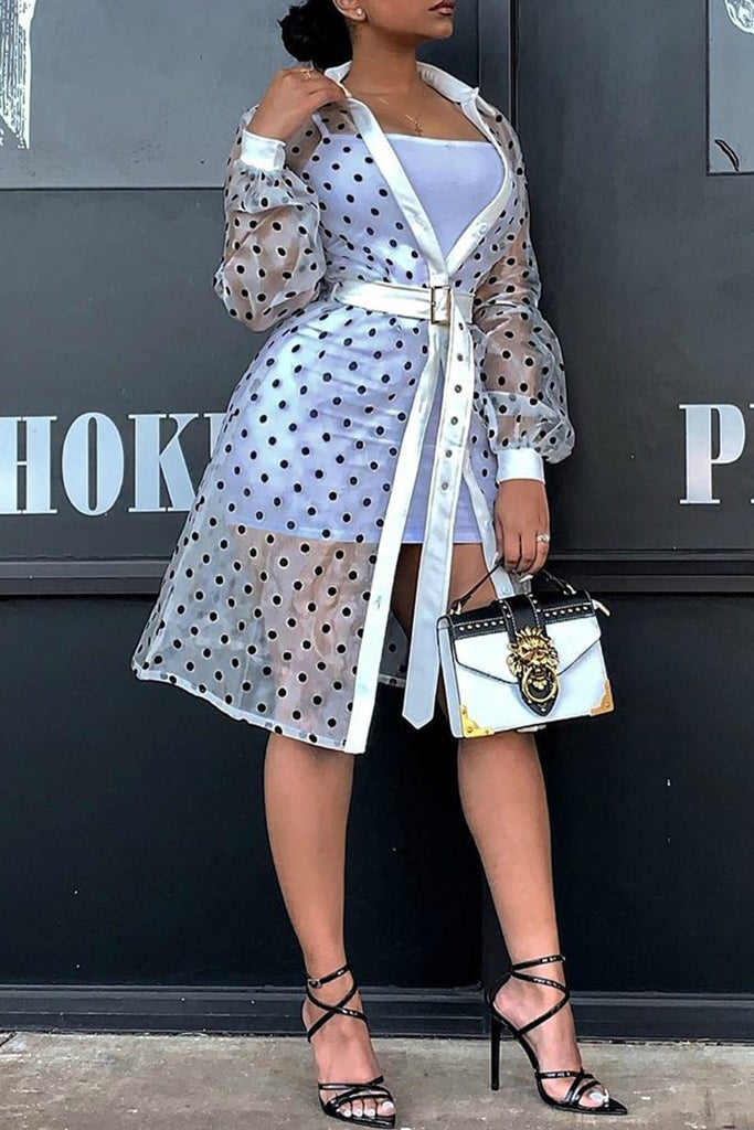 See-Through Polka Dot Button Coat With Belt