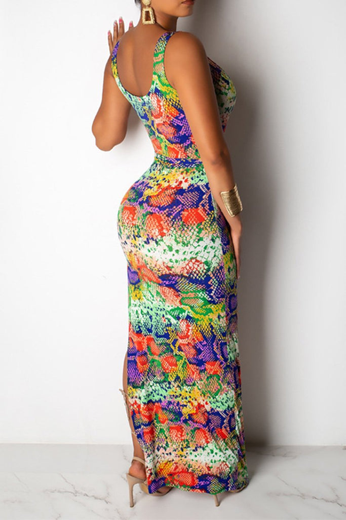 Printed High Slit Colorful Maxi Dress With Belt