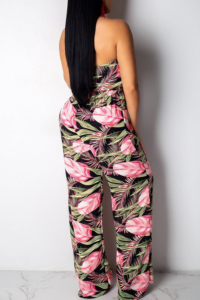 Halter Neck Sleeveless Print Bandage Open Back Top & Pants