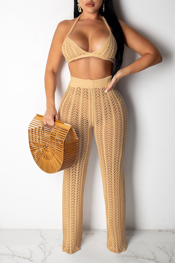 Knitted Pierced Open Back Two Piece Sets