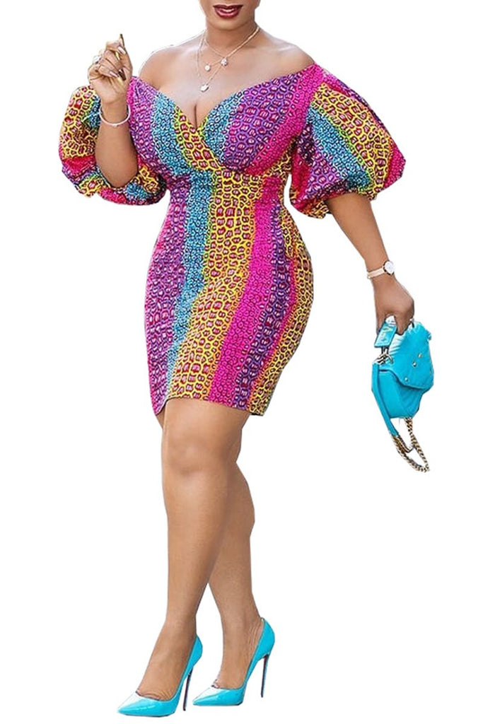 Colorful Printed Puff Sleeve V-Neck Dress
