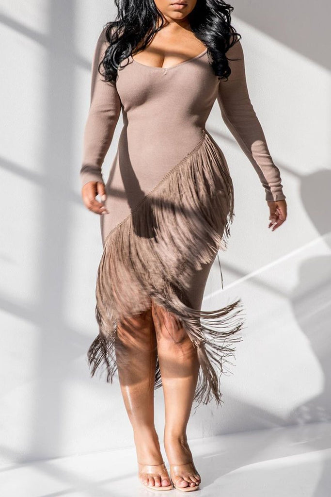 Irregular Hem Tassels Midi Dress