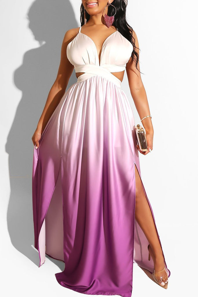 Spaghetti Straps Open Back Side Slit Maxi Dress