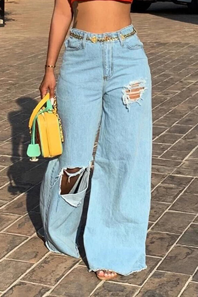 Edge Distressed Wide Leg Denim Pants