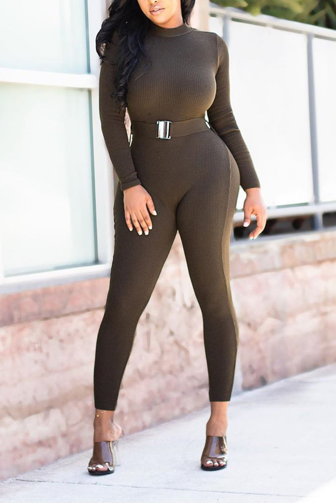Rib Solid Color Open Back Jumpsuit With Belt