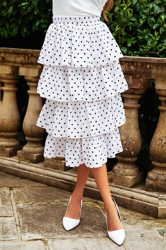 Casual Polka Dot Tired Midi Skirt