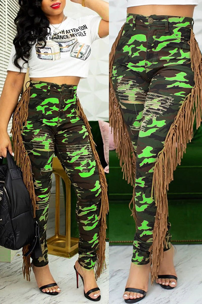 Camouflage Print Side Tassels Bodycon Pants