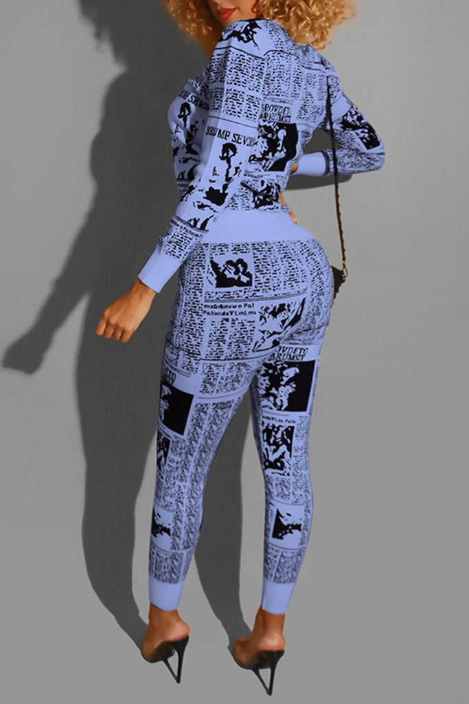 Digital Print Pocket Two Piece Outfits