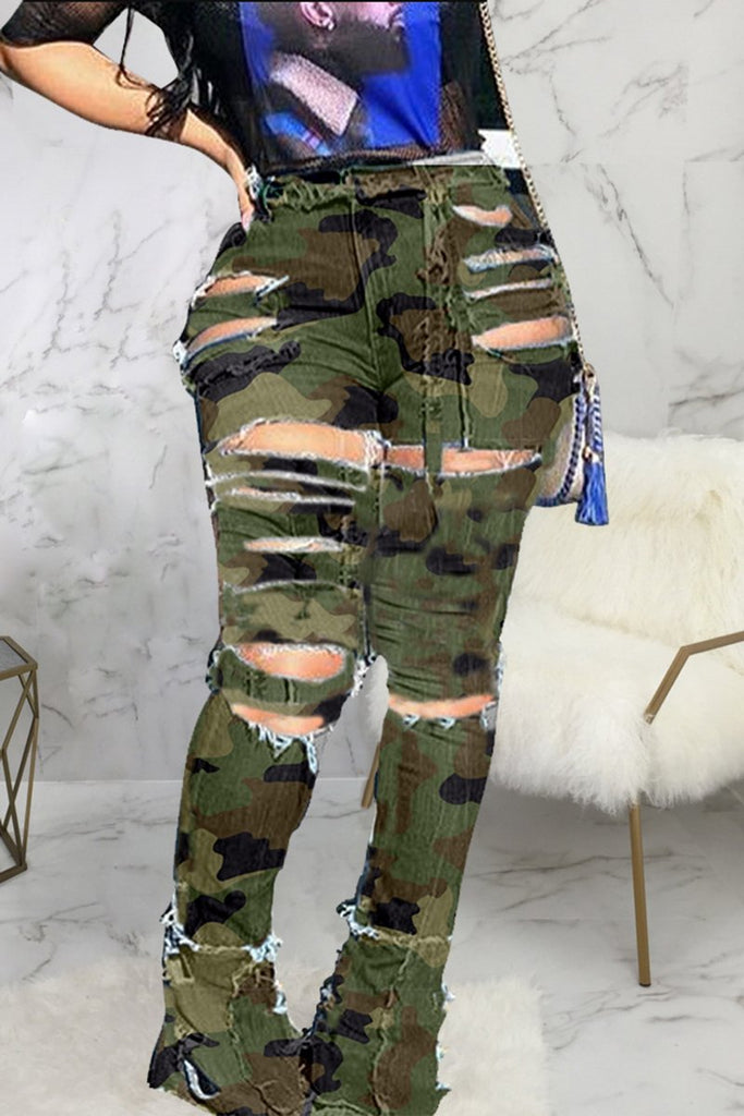 Slash Camouflage Print Flared Pants