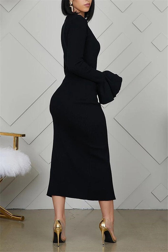 Flare Sleeve Solid Color Slit Dress