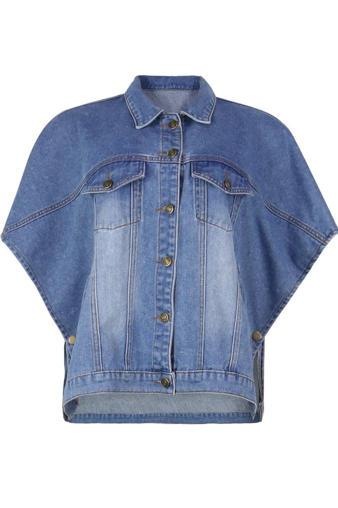 Plus Size Denim Batwing Sleeve Jacket
