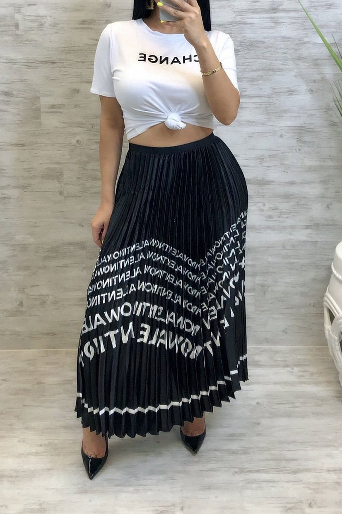 Fold Letter Print Casual Maxi Skirt