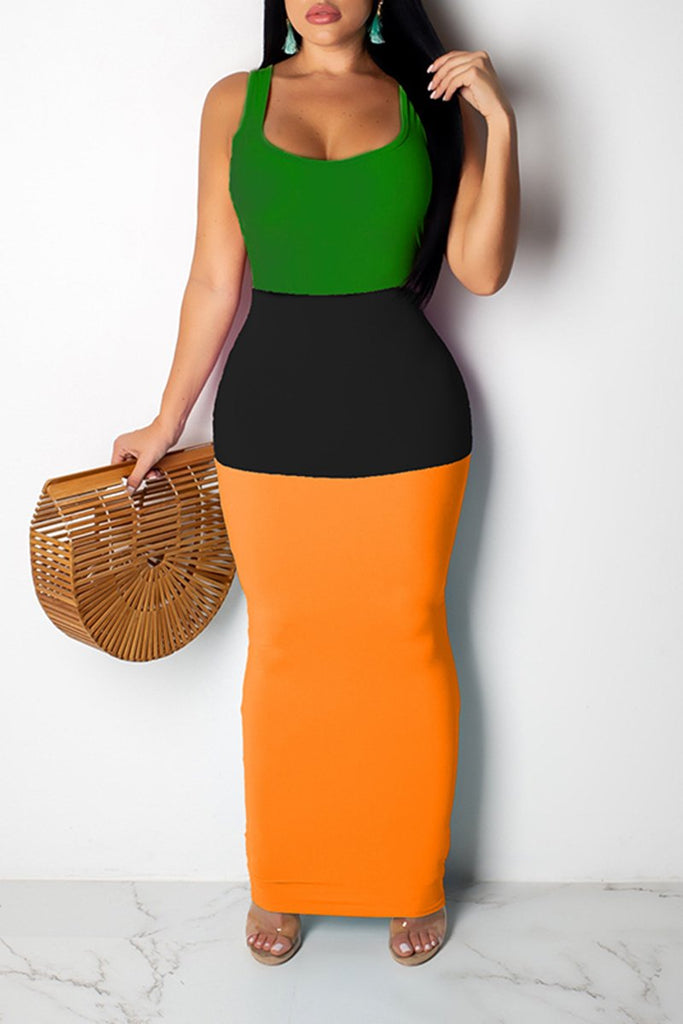 Sleeveless Color Block Casual Maxi Dress