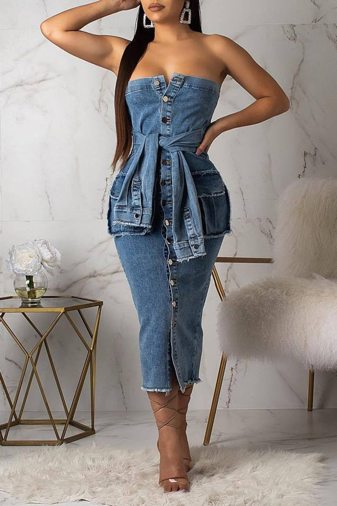 Denim Faux Two Pieces Midi Dress