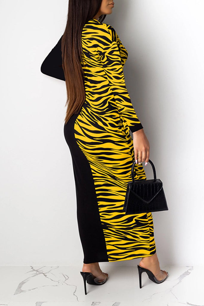 Printed Splicing Long Sleeve Maxi Dress