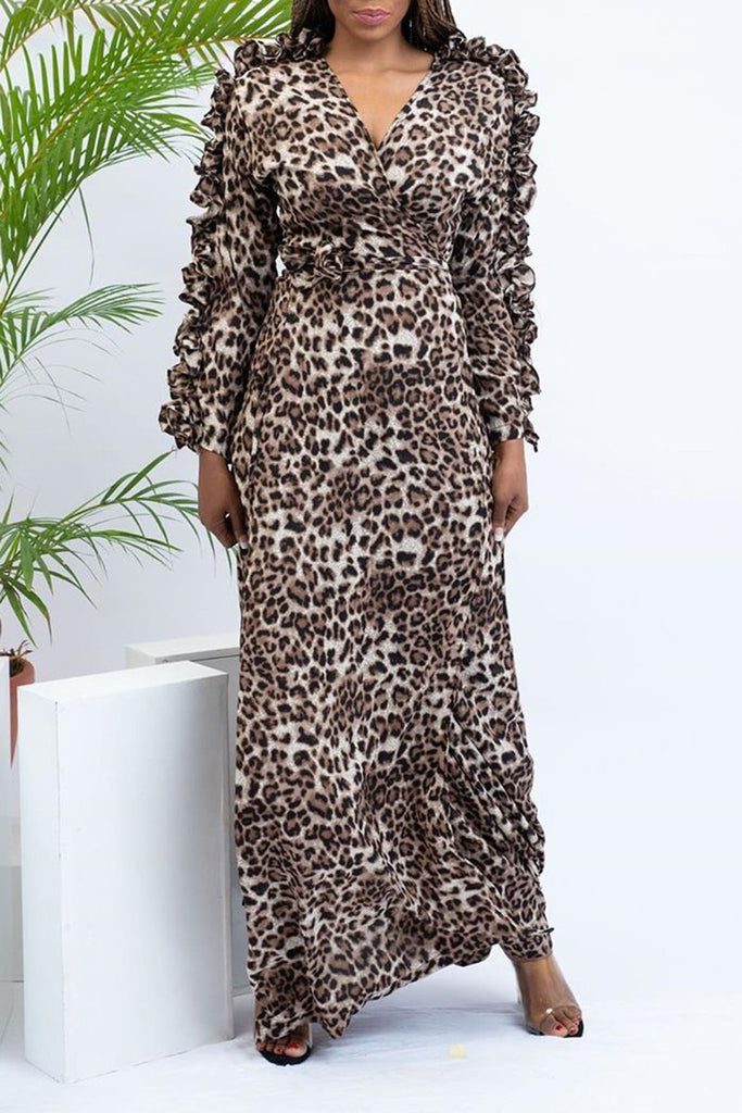 Fungus Edge Leopard Print Maxi Dress