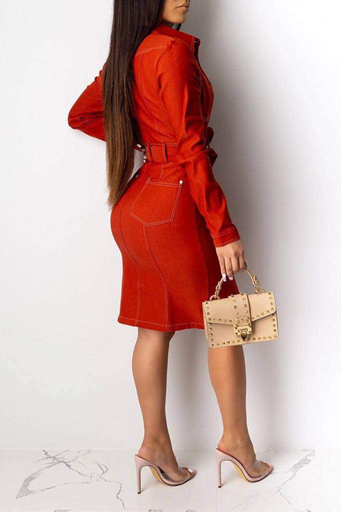 Turndown Collar Solid Color Dress With Belt