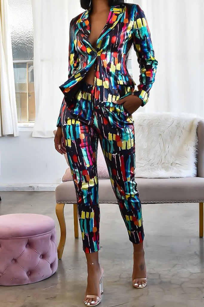 Graffiti Print Wide Lapel OL Two Piece Sets