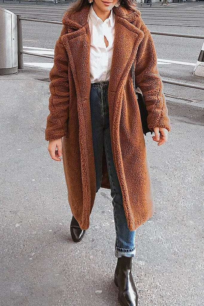 Plush Wide Lapel Pocket Coat