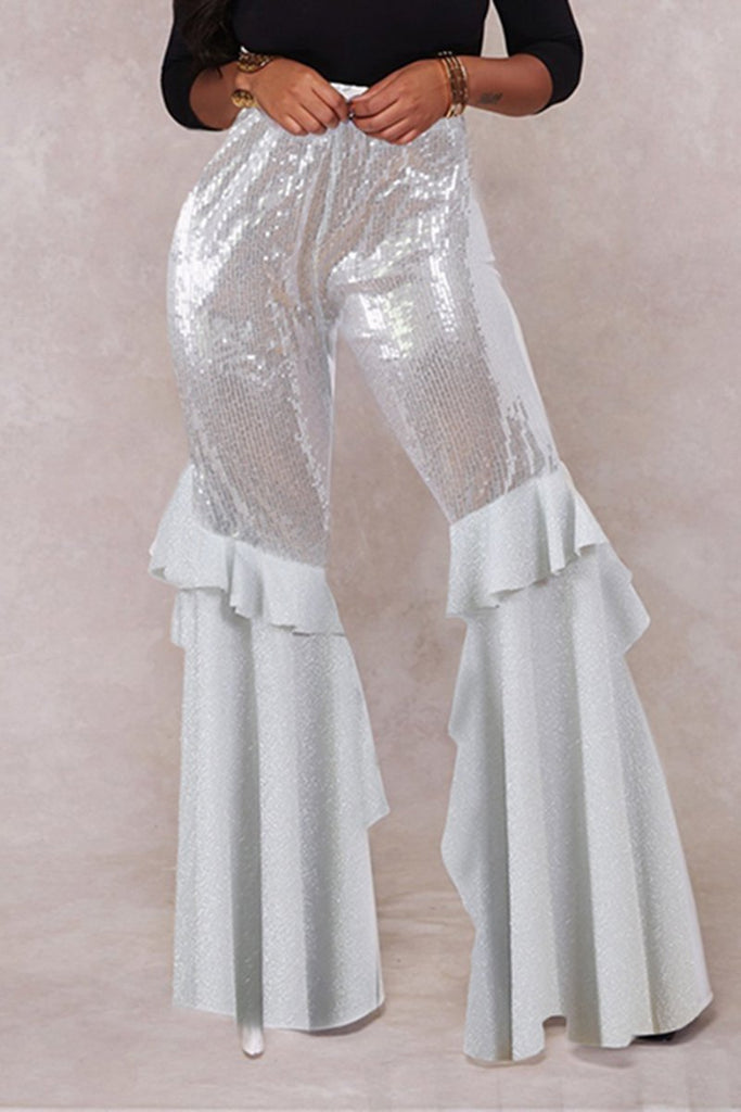 See-Through Flared Ruffled Pants