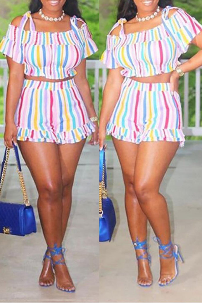 Ruffled Off The Shoulder Rainbow Two Piece Sets